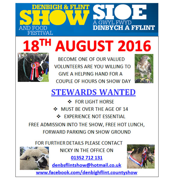 Stewards Wanted for Flint and Denbigh Show